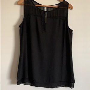 Black tank top with sheer shoulders